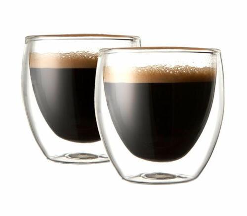 Double Wall Glass 2 Coffee Tea Glasses