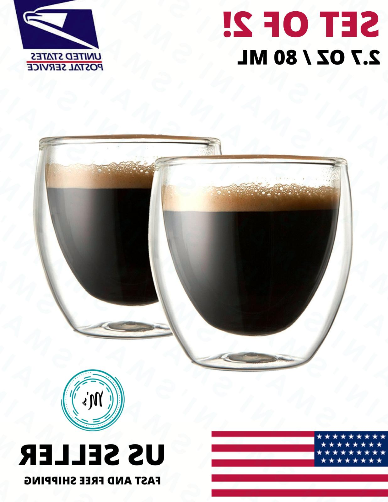 double wall espresso insulated glass cups set