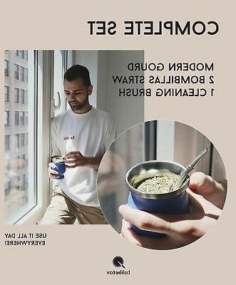 BALIBETOV Double Wall Steel Mate Gourd Set Modern Mate Cup ...