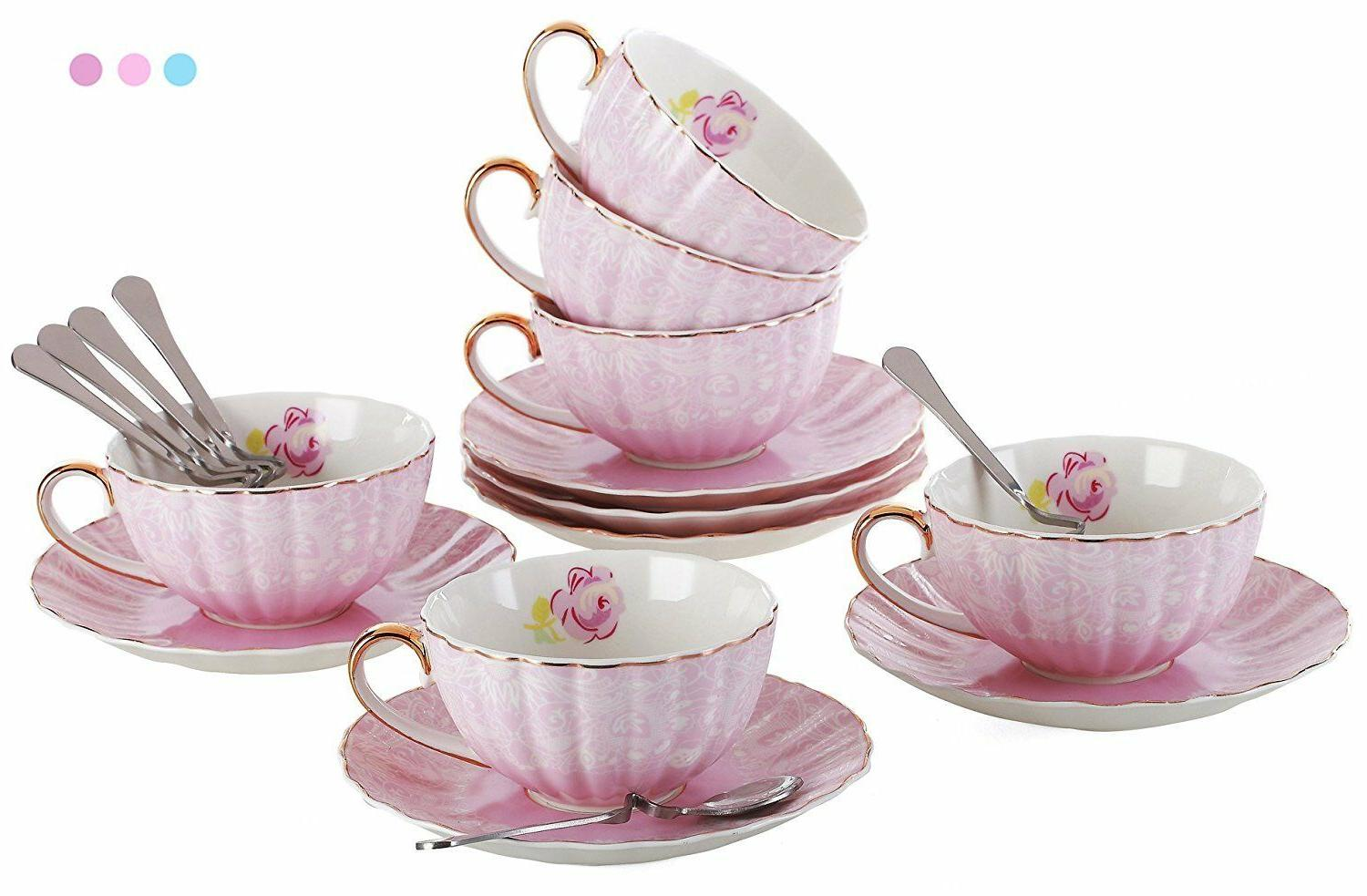 elegant tea cup with saucer and spoon