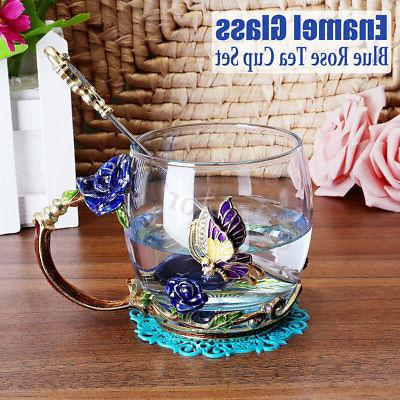 enamel glass tea cup mug spoon set