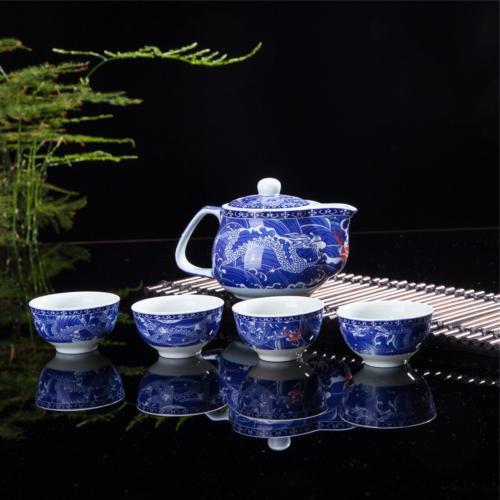Exquisite 5 PCS Blue-And-White Dragon Design Ceramic Tea Pot