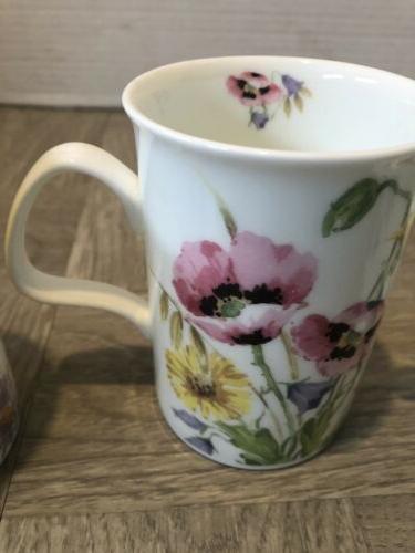Roy Kirkham China Mugs Floral English Meadow Of 3