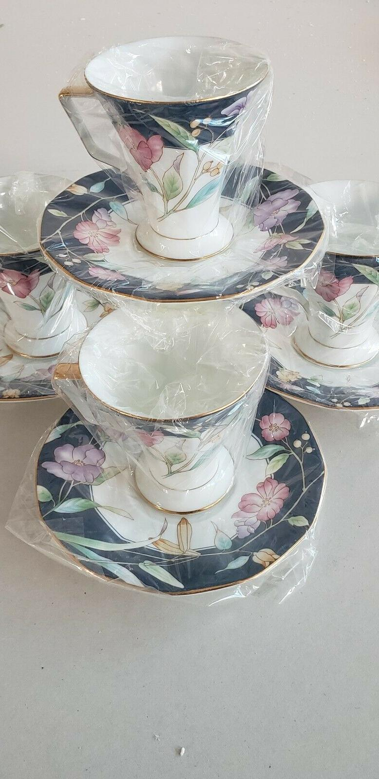 Fine Tea Coffee Spring Flowers 7oz 4 cups Saucer Royal Born New Set