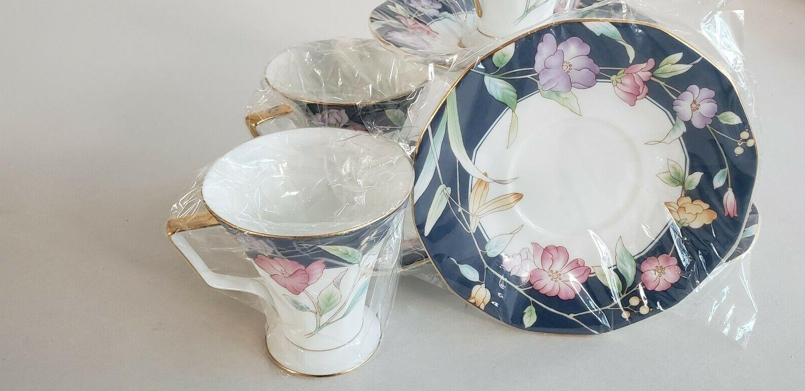 Fine China Tea Spring Flowers 4 cups 4