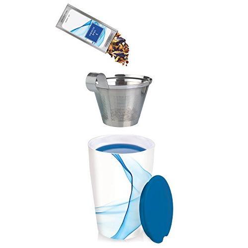 Tea Forté Ceramic Tea with Basket Lid Leaf Maker, Bleu