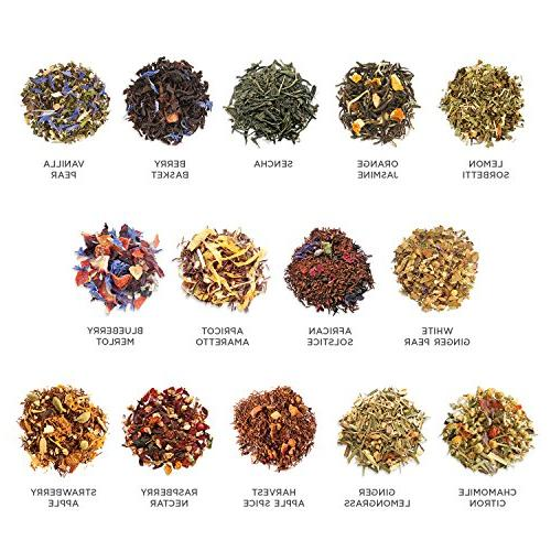 Loose Sampler, Variety TEA CHEST Set, Serve - Black Tea, Green Tea, Herbal