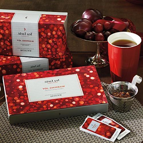 Tea Forté WARMING JOY Single Steeps Tea Sampler Gift Assorted Box, Pouches, Spice Blends