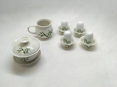 """""""Music City Gaiwan Tea Set A Pure White a Bamboo ..."""
