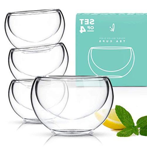 Glass Tea Cups Set of 4 - Double Wall Insulated Teacup