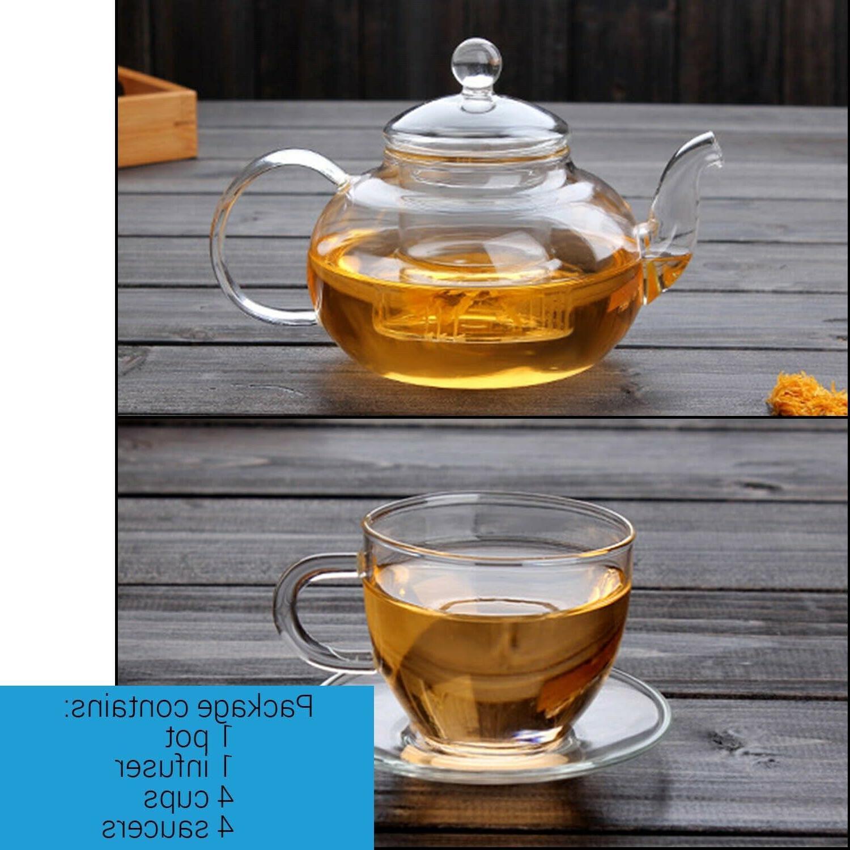 CoreLife Tea Set 4 Borosilicate Glass and Saucers with Pot