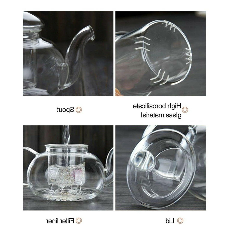 CoreLife 4 Borosilicate Glass and Saucers with Pot