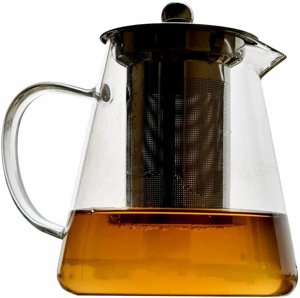 glass teapot with stainless steel infuser high