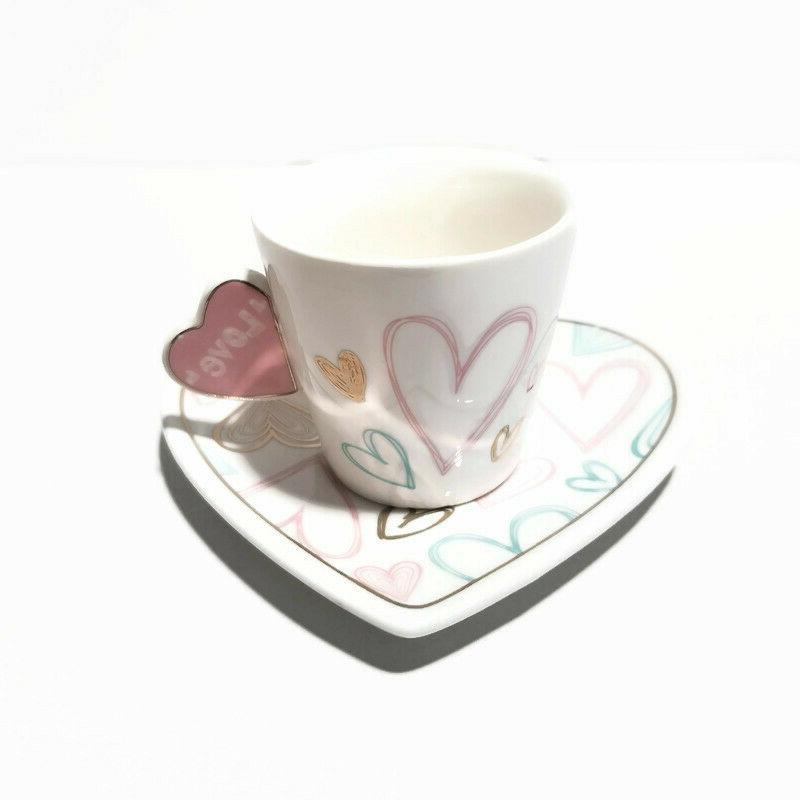 Heart Small Tea, Coffee,Espresso Cup set of 6, Set