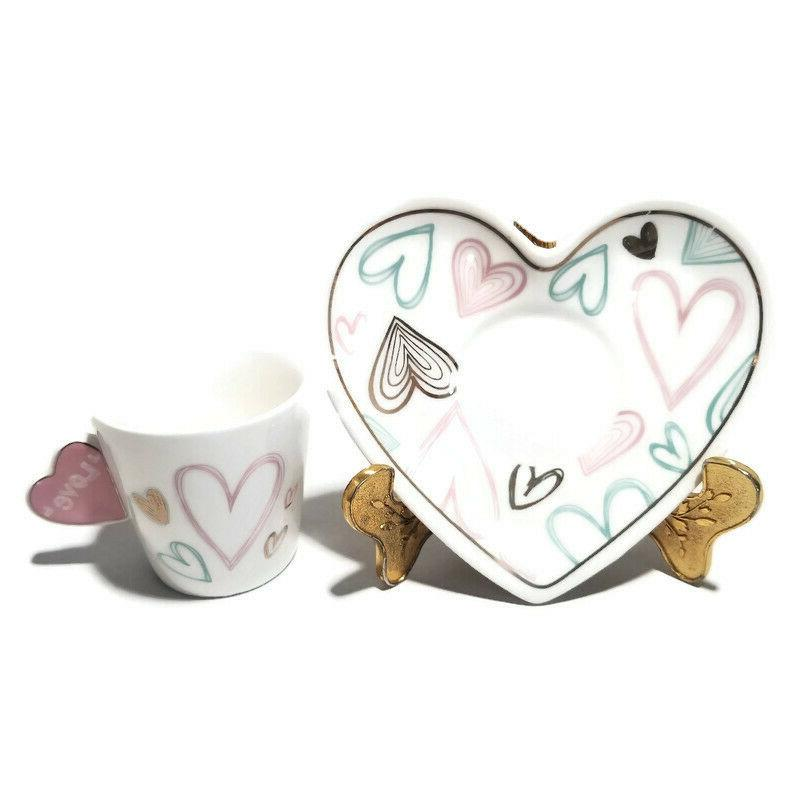 Heart Shape Small Coffee,Espresso & set of 6, Set