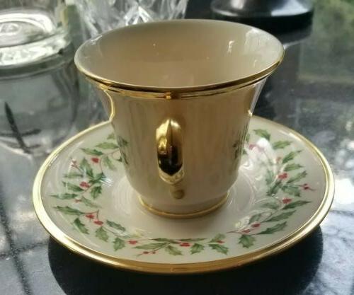 LENOX HOLIDAY 4 Holly China 24K Tea Saucer