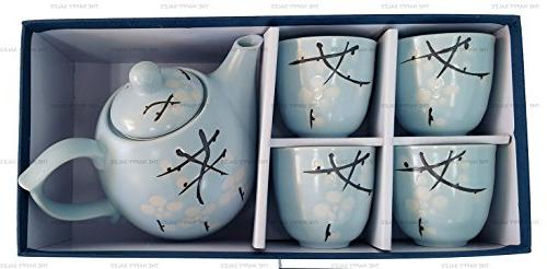 Happy Sales Japanese Design Light Blue Blossom Porcelain Tea Set