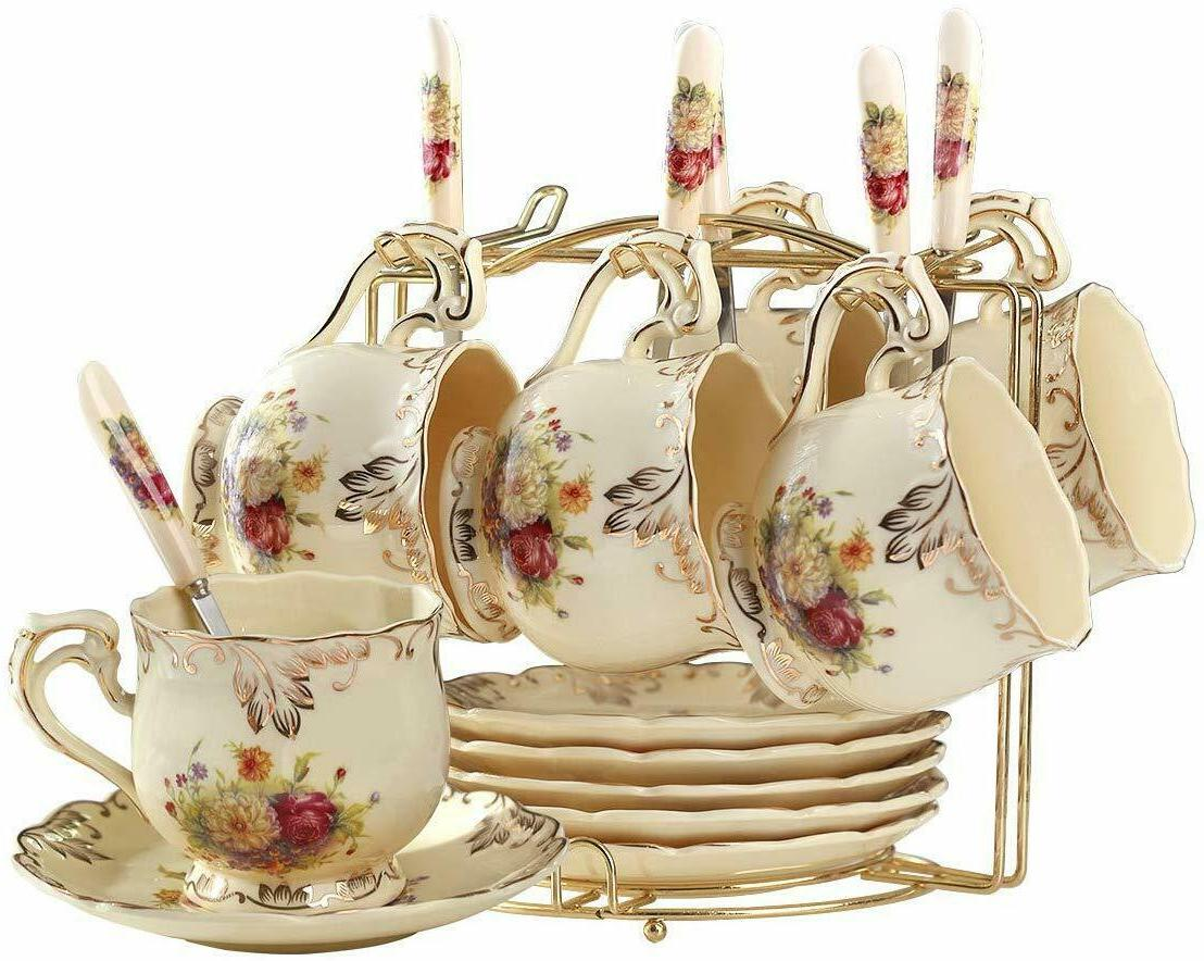 Ivory Ceramic Tea Set,Pack of with Golden