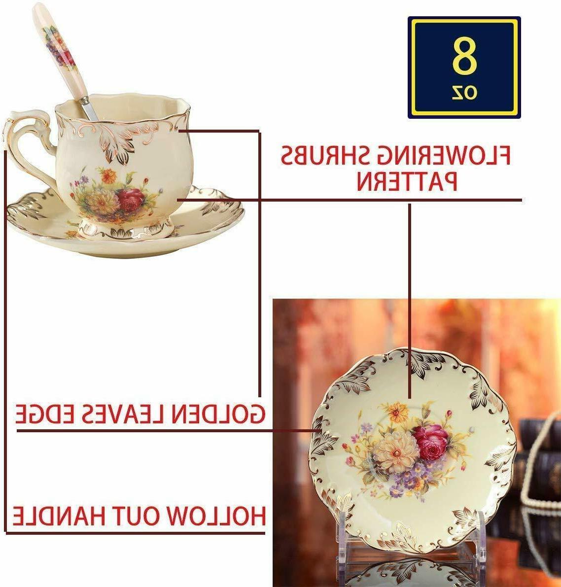 Ivory Tea Set,Pack Golden