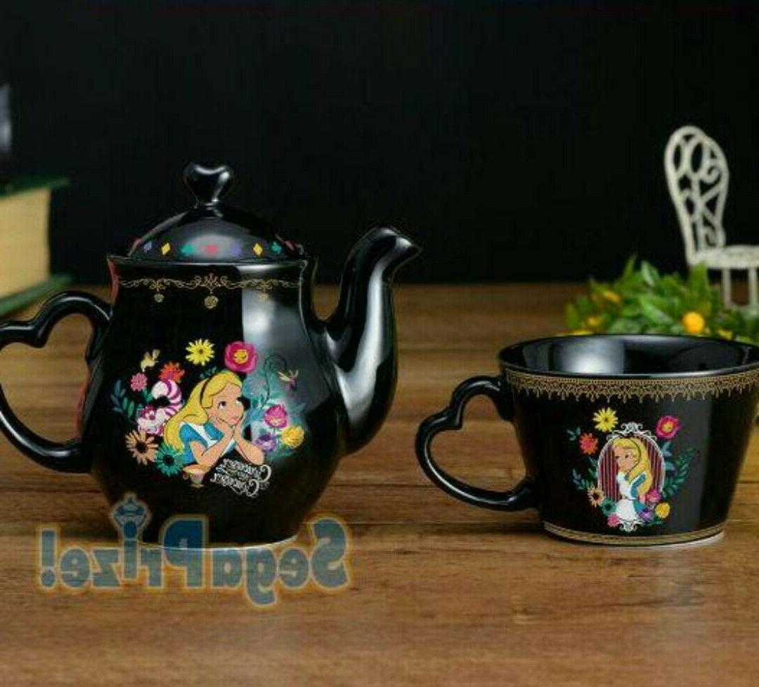 Japan Disney Alice Wonderland Premium Set Tea Pot SEGA