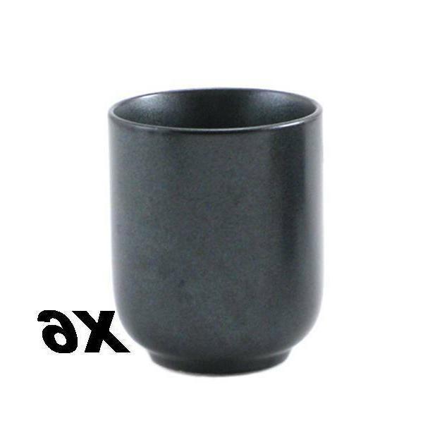 """Set of 6 Japanese 3""""H Porcelain """"Yunomi"""" Sushi Tea Cup Metal"""