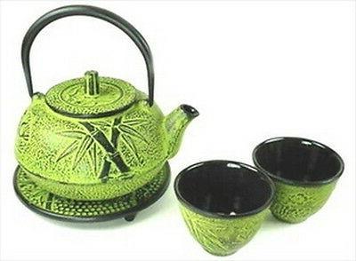 Japanese Cast Iron Tea Set Teapot Teacups Kettle #TS20-06Y S