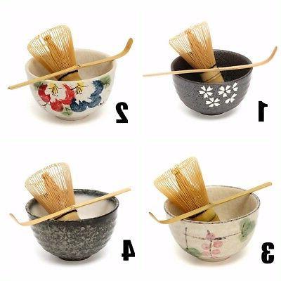 Japanese Green Tea Whisk Holder Scoop Bowl Set