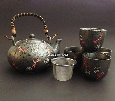 SET of 5 Japanese Chinese Ceramic Tea Set w/ Mesh Strainer G