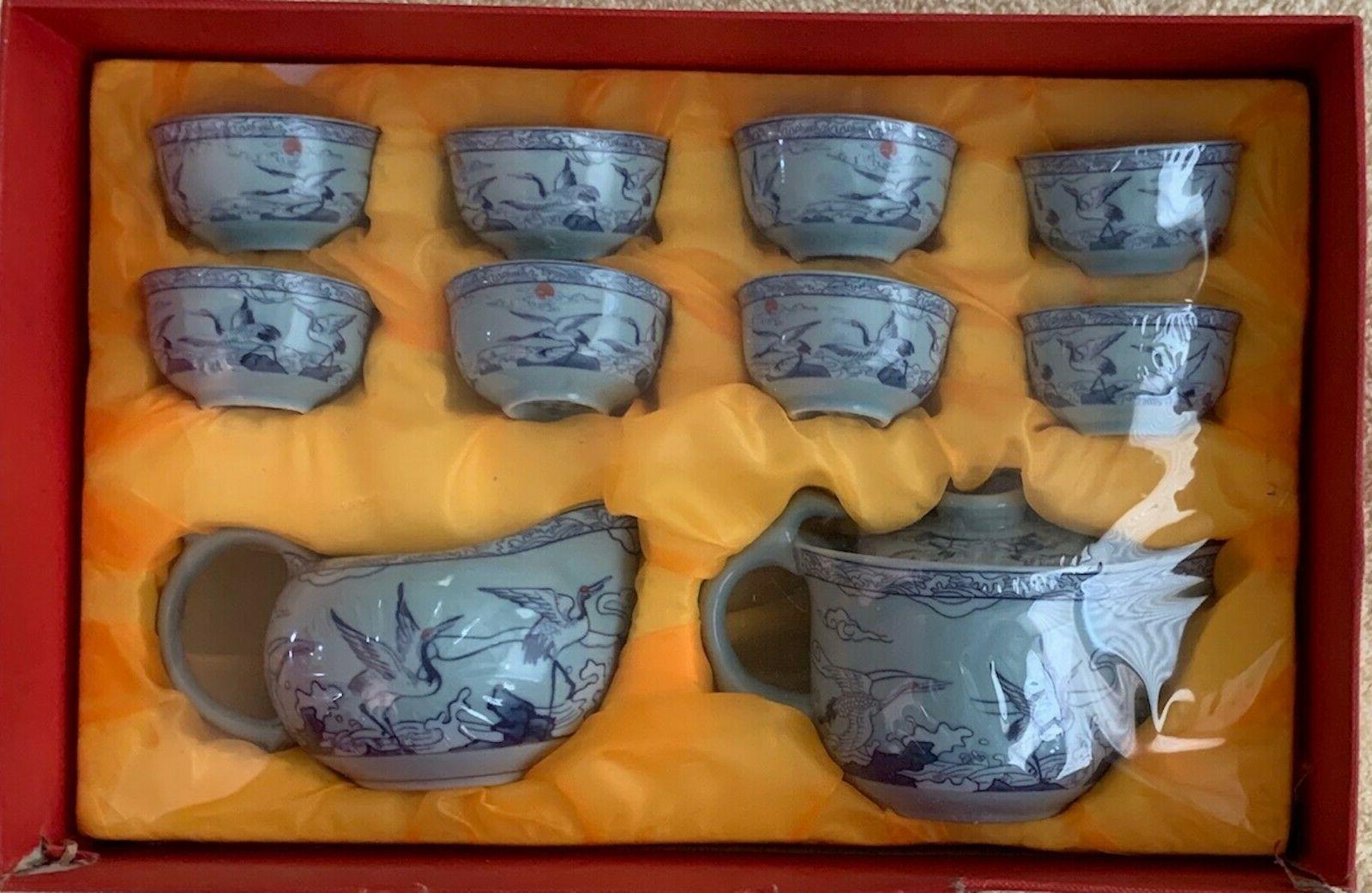 japanese porcelain 10 piece white crane tea