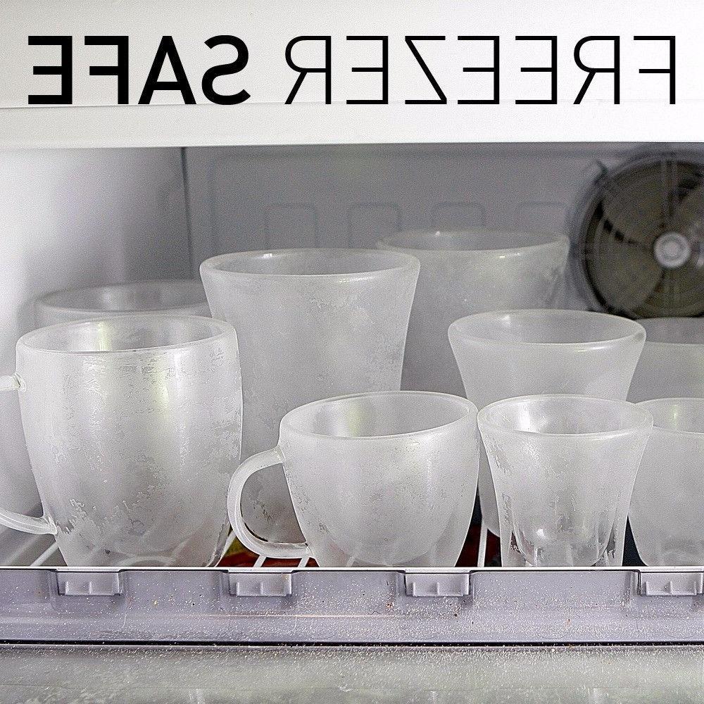 JECOBI Strong Glass Double Tea Mug Cup 14 oz Set