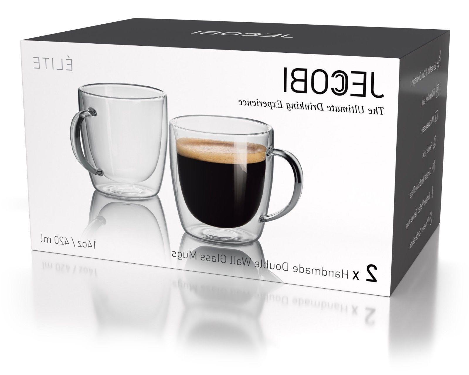 JECOBI Double Wall Mug Tea Mug Espresso 14 oz