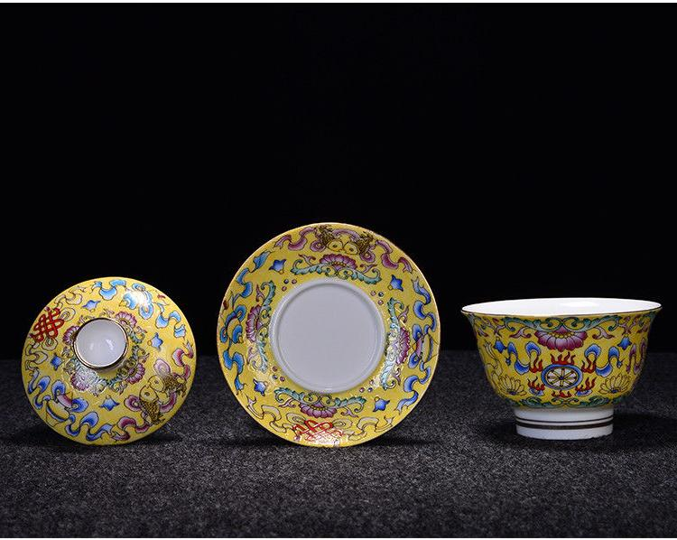 Jingdezhen gaiwan handpainted cup lid