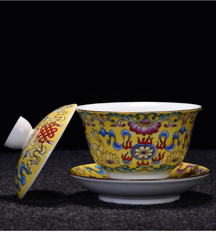 Jingdezhen craft porcelain gaiwan handpainted cup lid