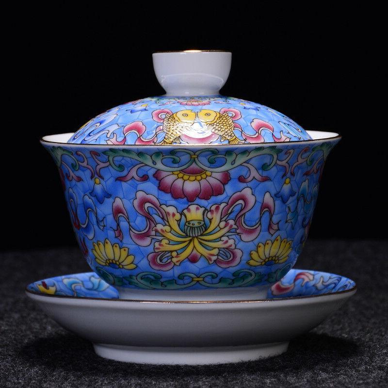 jingdezhen craft porcelain gaiwan handpainted tureen covered