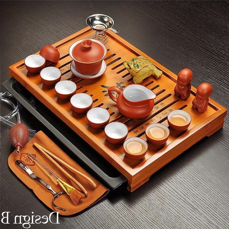 Jingdezhen Clay Fu <font><b>Tea</b></font> <font><b>Set</b></font> <font><b>Tea</b></font> Cup,Tureen Ceremony with Table