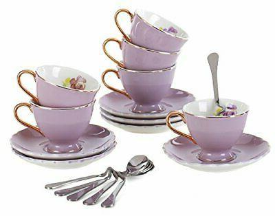 Jusalpha Porcelain Tea Cup and Saucer Coffee Cup Set