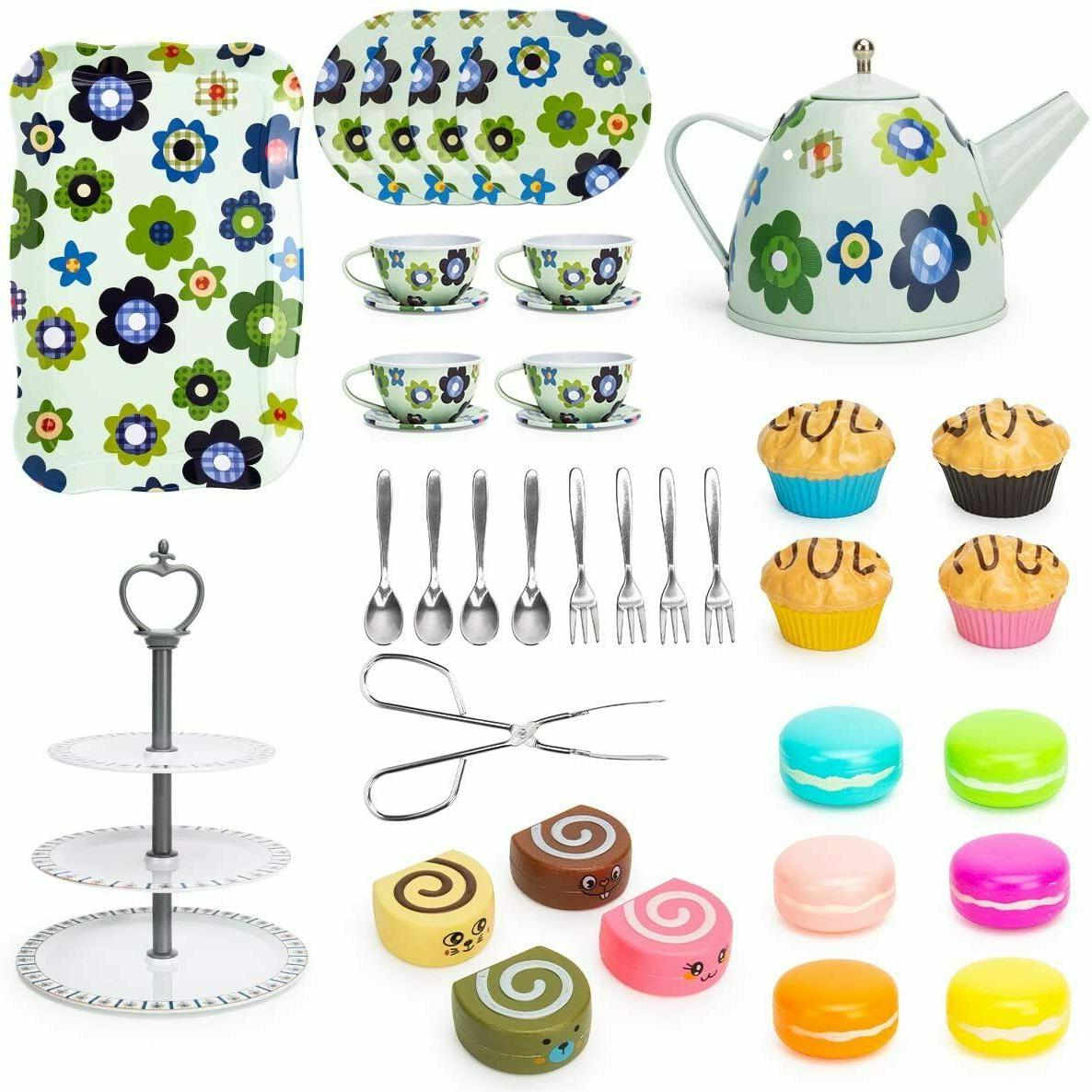 Kid Tin Tea Toy with Cake Stand and Play Food