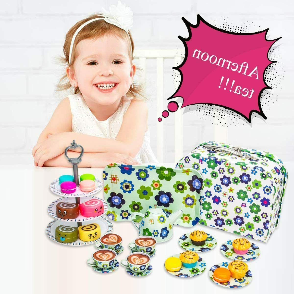 Kid Tea Set Toy and Dessert Play Food Doll Set