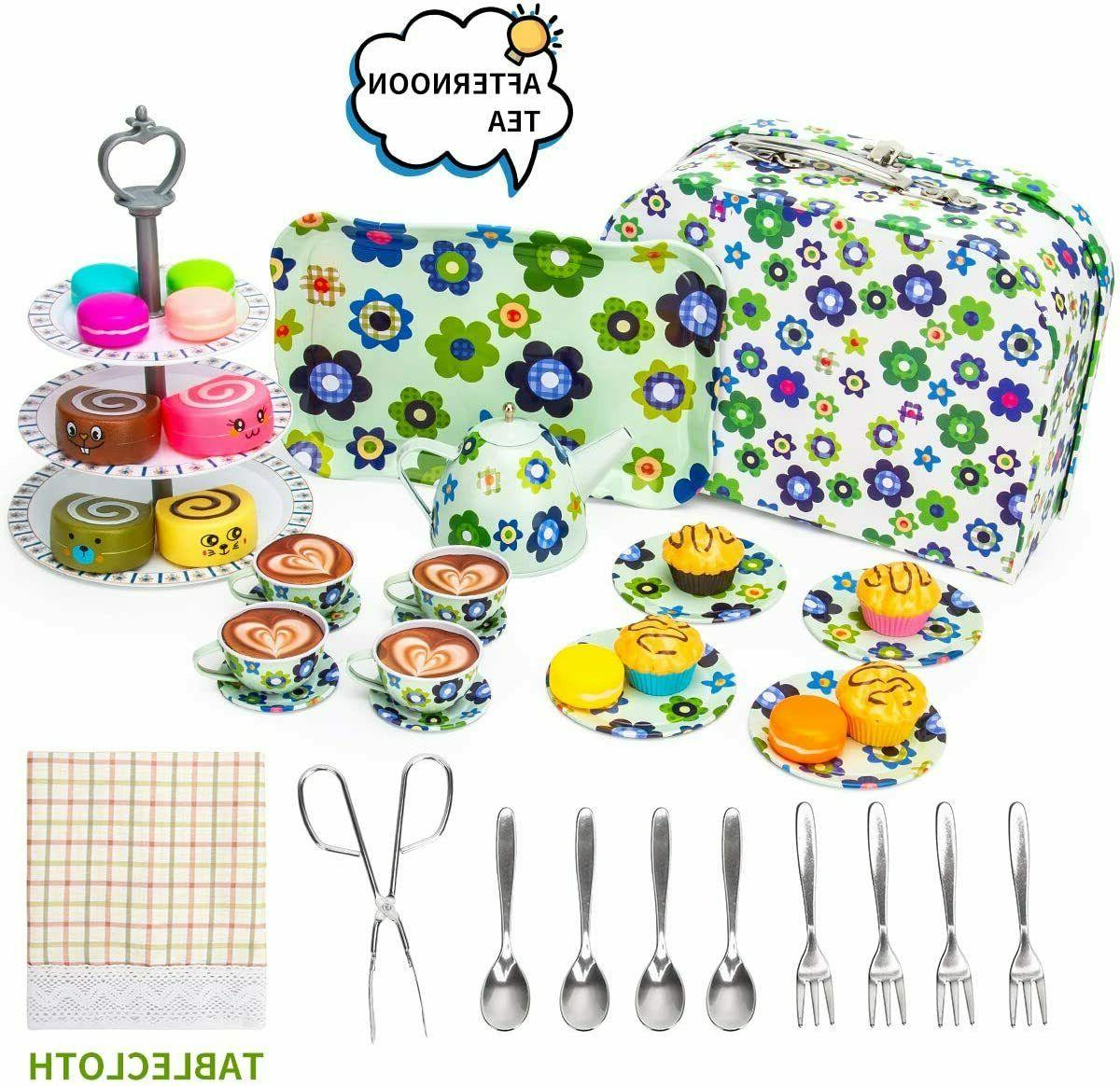Kid Tin Set Toy Cake Stand and Dessert Play Food Doll