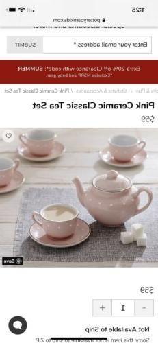Pottery Barn Kids Porcelain Tea Set Pink W/ White Dots, NIB
