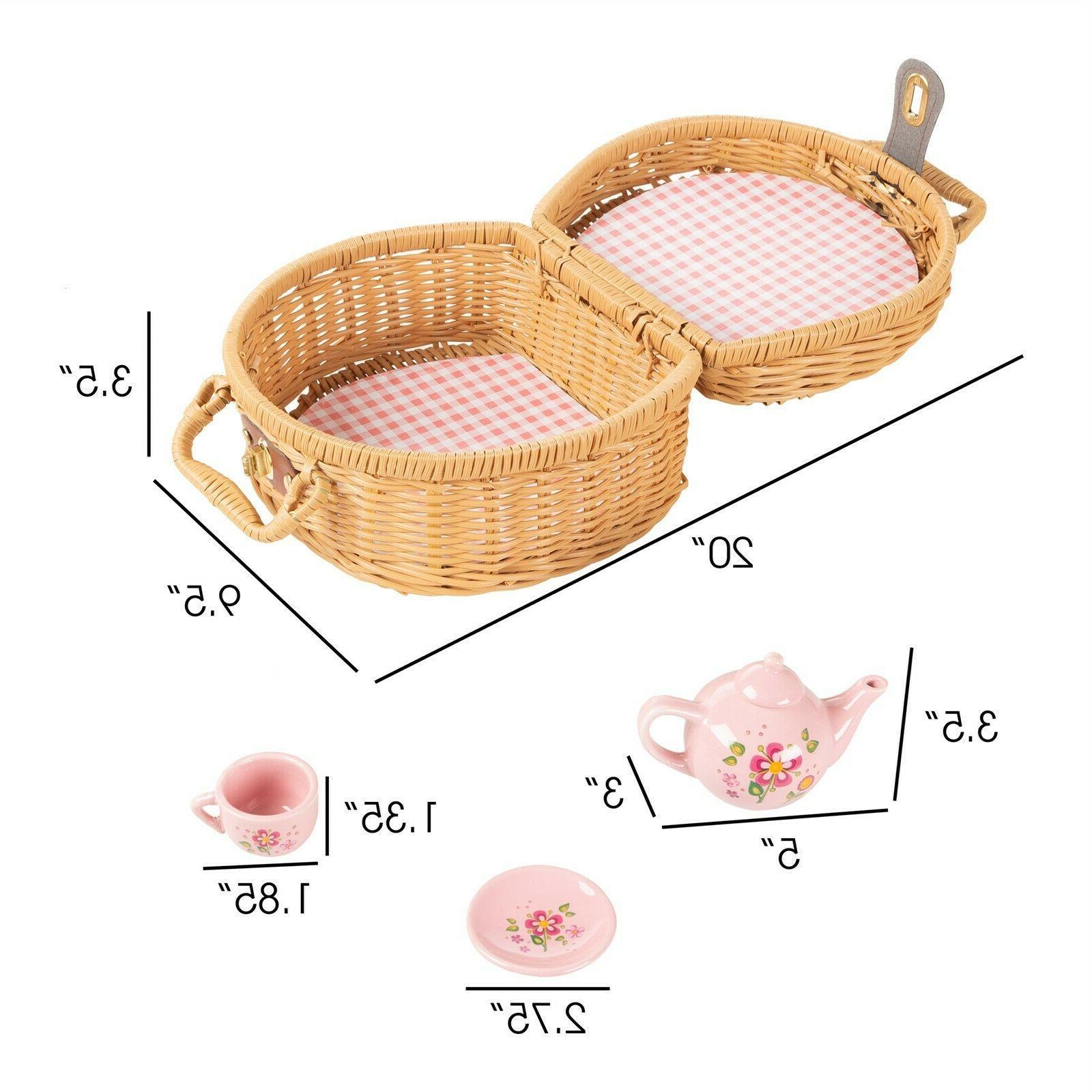 Kids Tea Set Porcelain Pc Cups Saucers Teapot Spoons Pretend