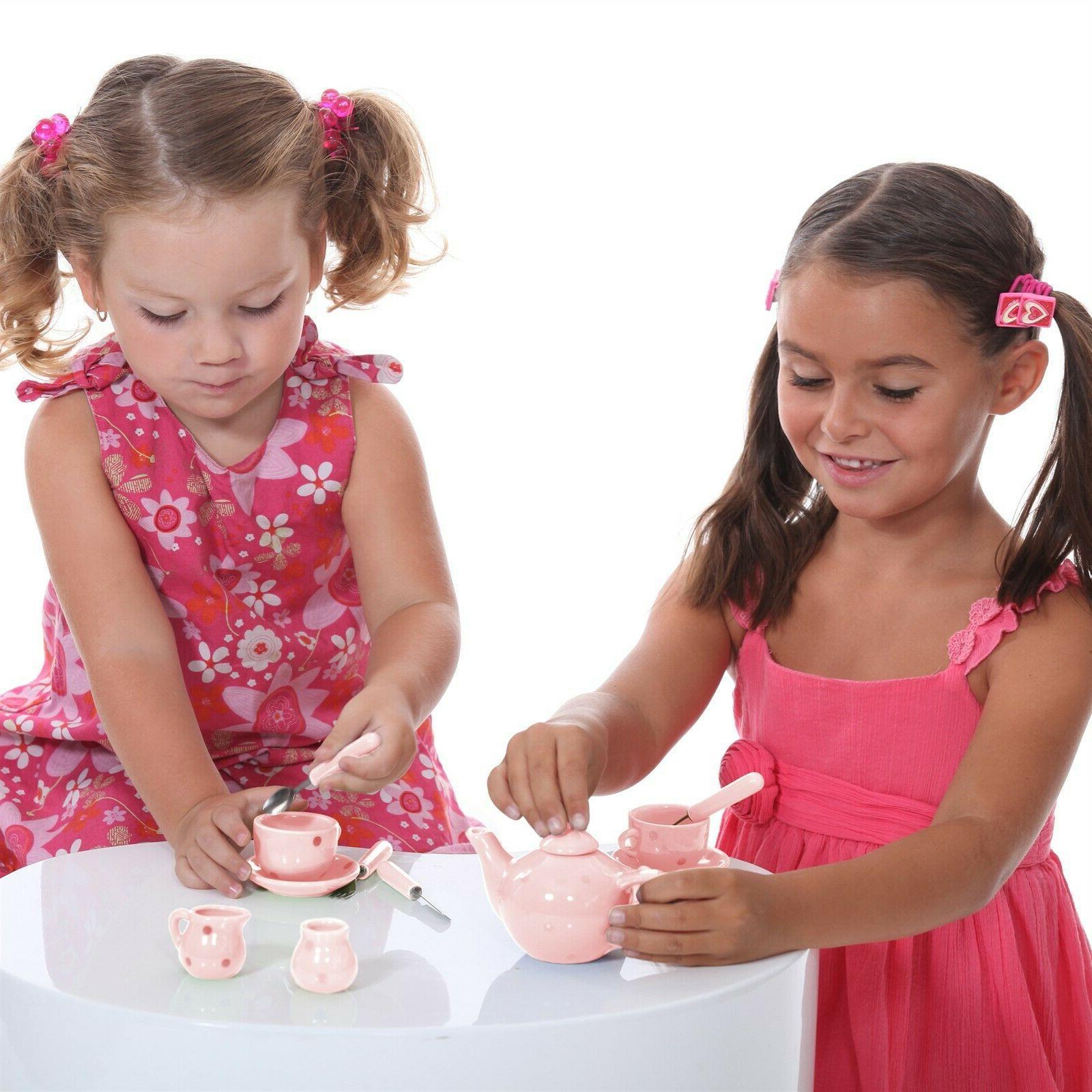 Kids Tea Porcelain Pc Cups Saucers Teapot Spoons Pretend