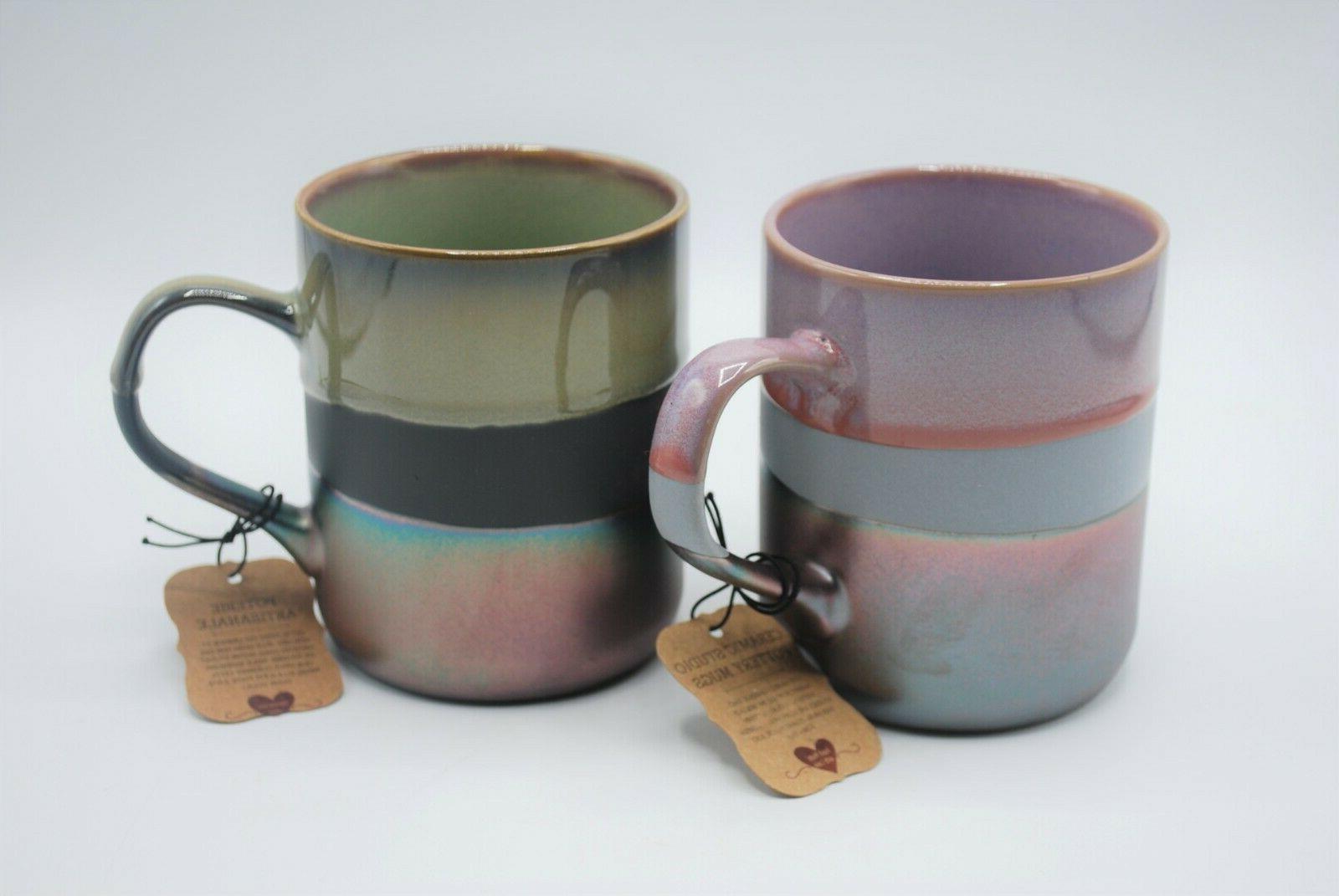 la rochelle stoneware coffee tea mugs purple