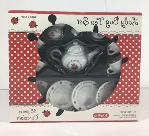 ladybug porcelain toy tea set girls playtime