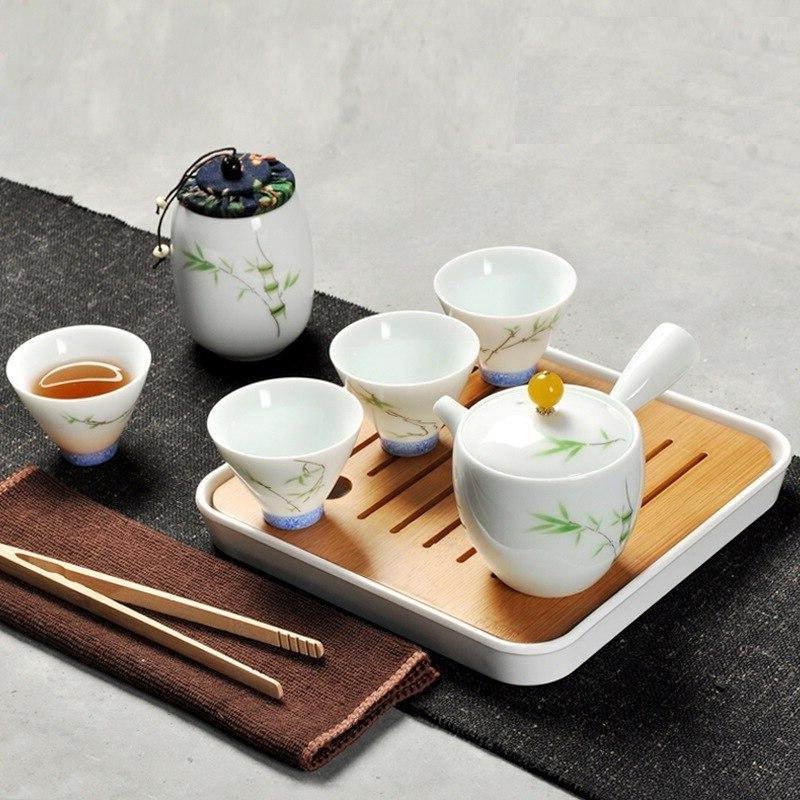 Loyal Obedient At Kung <font><b>Tea</b></font> Tray Sweet Porcelain In <font><b>Gold</b></font> Can