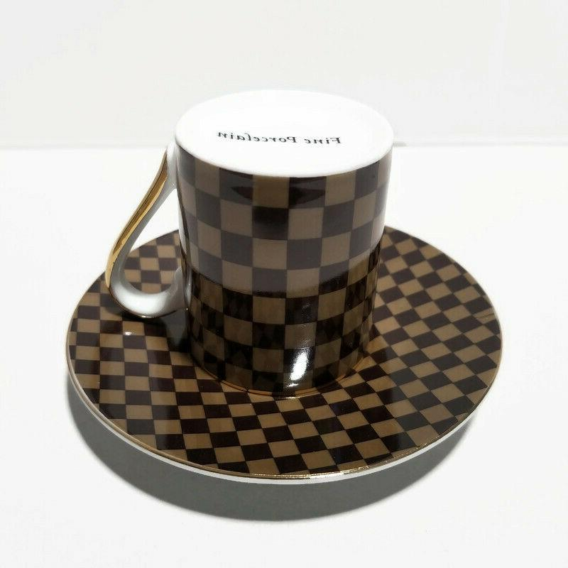 LV- Small Tea, Coffee, Espresso Cup saucer, Gift