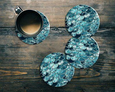 Coaster Set Mermaid Scales Blue Wave Tea Cup Mat Table Decor