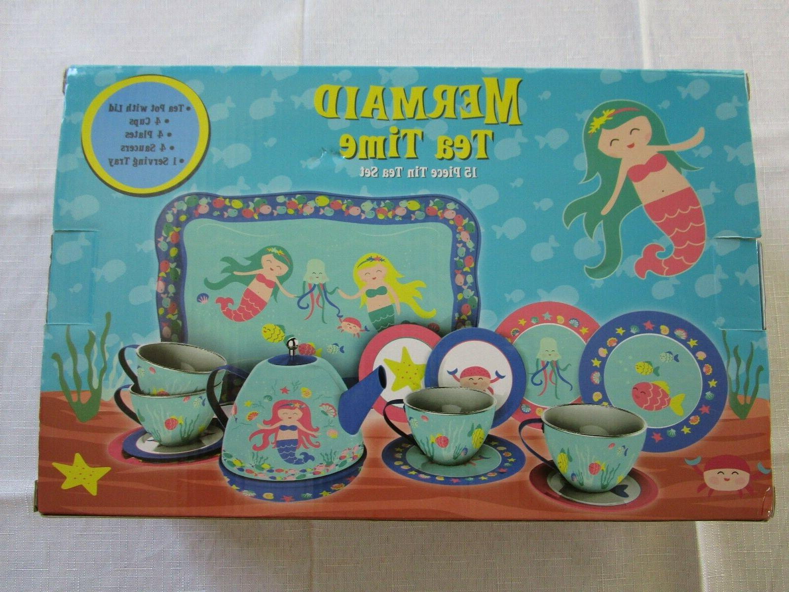 Schylling Mermaid Tin Tea Set, PC. SAFE