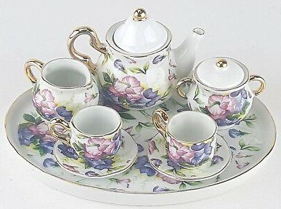 miniature morning glories porcelain tea set teapot