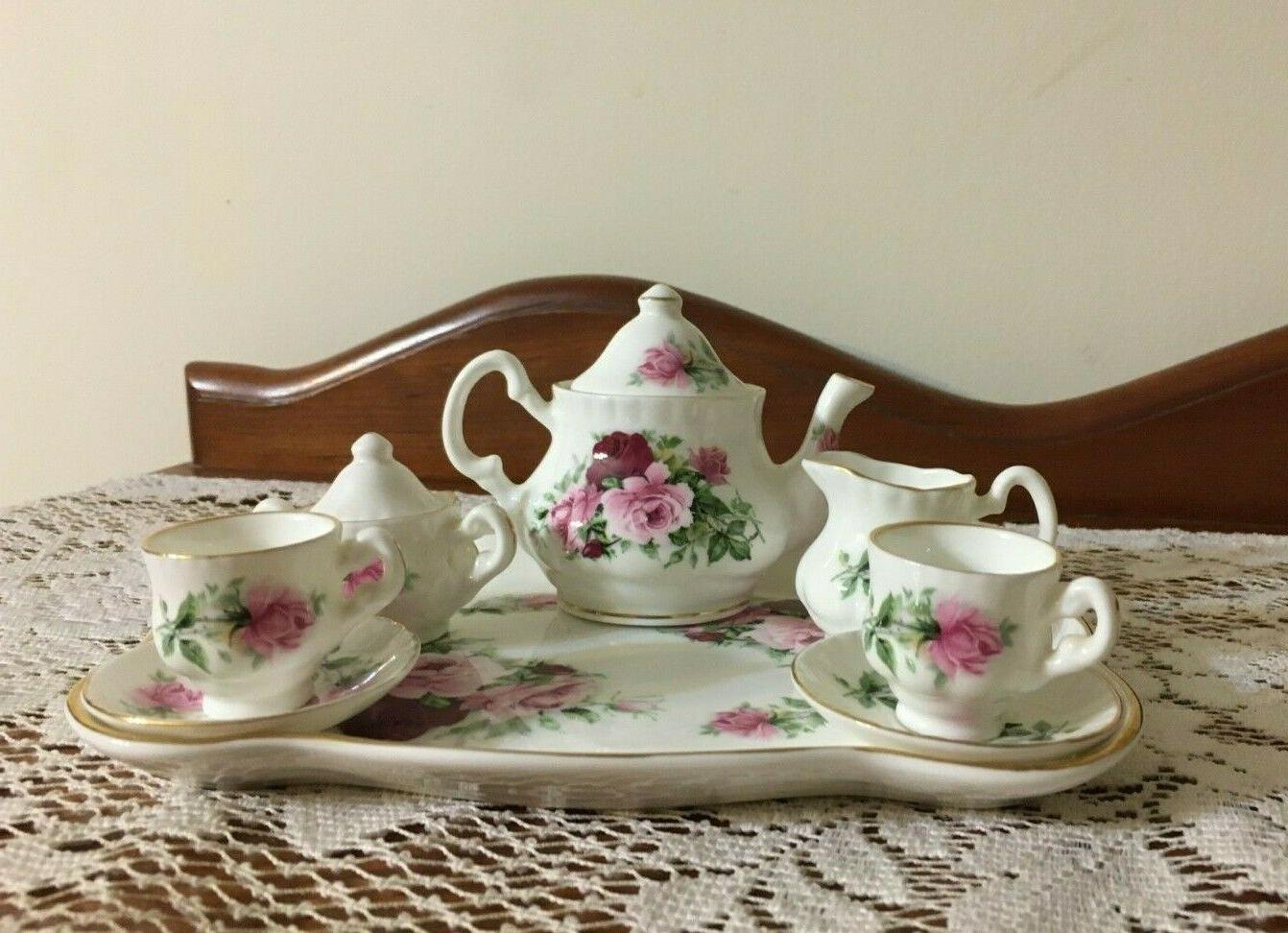 miniature royal patrician bone roses tea set